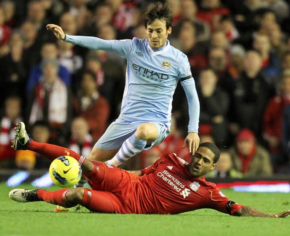 Liverpool's Glen Johnson and Manchester City's David Silva