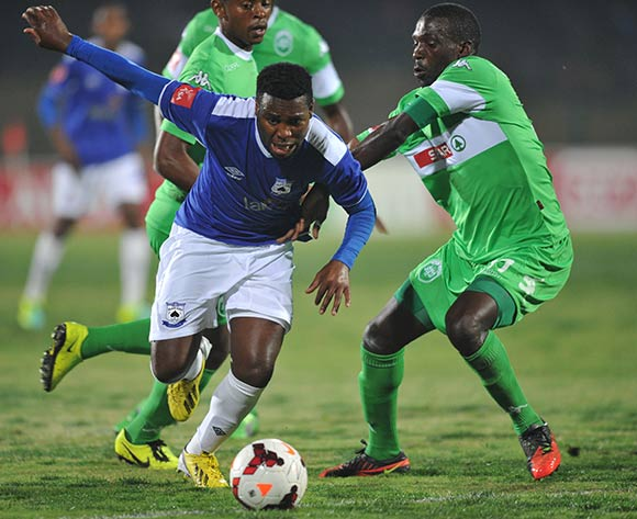 Mabhuti Khenyeza of Mpumalanga Black Aces battles Willem Mwedihanga of AmaZulu during the Absa Premiership 2013/14 match football between AmaZulu and Mpumalanga Black Aces at the Princess Magogo Stadium , Durban on the 27th of August 2013