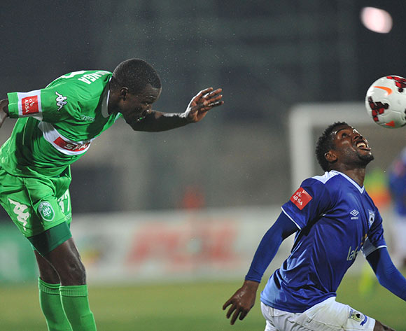 Willem Mwedihanga of AmaZulu battling Mabhuti Khenyeza of Mpumalanga Black Aces during the Absa Premiership 2013/14 match football between AmaZulu and Mpumalanga Black Aces at the Princess Magogo Stadium , Durban on the 27th of August 2013