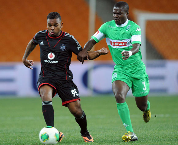 Kermit Erasmus of Orlando Pirates is challenged by Goodman Dlamini of AmaZulu during the Absa Premiership match between Orlando Pirates and AmaZulu on the 08 August 2013 at FNB Stadium