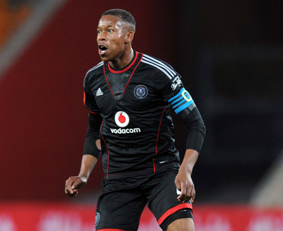 Happy Jele of Orlando Pirates during the Absa Premiership match between Orlando Pirates and AmaZulu on the 08 August 2013 at FNB Stadium