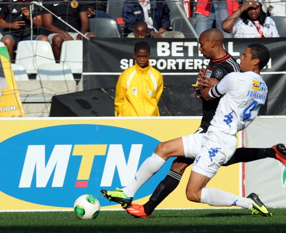 Bevan Fransman of Supersport United battles with Lennox Bacela of Orlando Pirates  during the MTN 8 match between Orlando Pirates and Supersport United on the 11 August 2013 at Mbombela Stadium ©Sydney Mahlangu /BackpagePix
