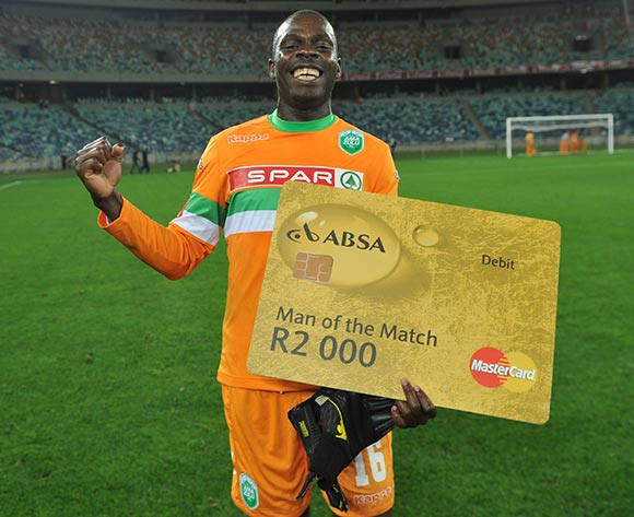 Tapuwa Kapini of AmaZulu awarded man of the match during the Absa Premiership 2013/14 Football match between AmaZulu and Moroka Swallows at the Moses Mabhida Stadium , Durban on the 14th of September 2013