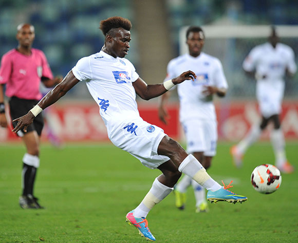 Edwin Gyimah of Supersport United during the Absa Premiership 2013/14 Football match between AmaZulu and Supersport United at the Moses Mabhida Stadium , Durban on the 21st of September 2013