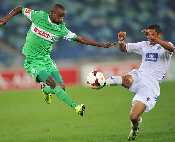 Ayanda Dlamini of AmaZulu battles Bevan Fransman of Supersport United during the Absa Premiership 2013/14 Football match between AmaZulu and Supersport United at the Moses Mabhida Stadium , Durban on the 21st of September 2013
