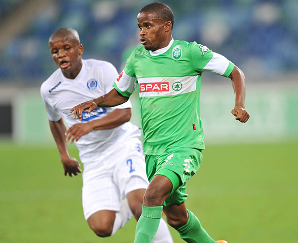 Nkosinathi Mthiyane of AmaZulu and Thabo Moloi of Supersport United during the Absa Premiership 2013/14 Football match between AmaZulu and Supersport United at the Moses Mabhida Stadium , Durban on the 21st of September 2013