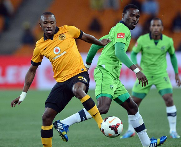 Bernard Parker of Kaizer Chiefs battles with Robert Ngambi of Platinum Stars during the Absa Premiership match between Kaizer Chiefs and Platinum Stars on the 21 August 2013 at FNB Stadium, Soweto