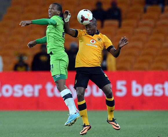 Bernard Parker of Kaizer Chiefs battles with Luvolwethu Mpeta of Platinum Stars during the Absa Premiership match between Kaizer Chiefs and Platinum Stars on the 21 August 2013 at FNB Stadium, Soweto