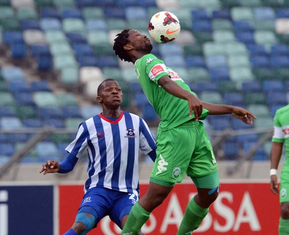 Thamsanqa Mkhize of Maritzburg United battles with Bongani Ndulula of AmaZulu during the Absa Premiership match between AmaZulu and Maritzburg United on the 27 October 2013 at Moses Mabhida Stadium  ©Sydney Mahlangu/BackpagePix
