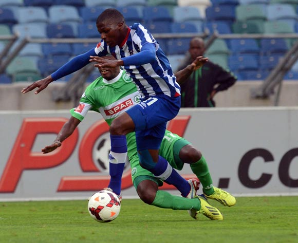 Thamsanqa Mkhize of Maritzburg United battles with Ayanda Dlamini of AmaZulu during the Absa Premiership match between AmaZulu and Maritzburg United on the 27 October 2013 at Moses Mabhida Stadium  ©Sydney Mahlangu/BackpagePix