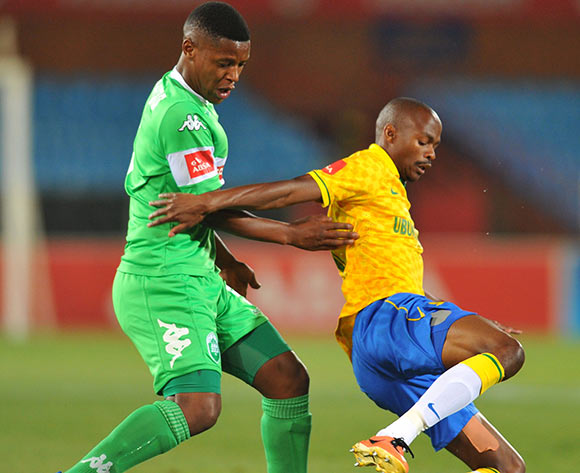 Tebogo Langerman of Mamelodi Sundowns challenged by Khulegani Madondo of Amazulu during the Absa Premiership football match between Mamelodi Sundowns and Amazulu at the Loftus Stadium, Pretoria on 22 October 2013