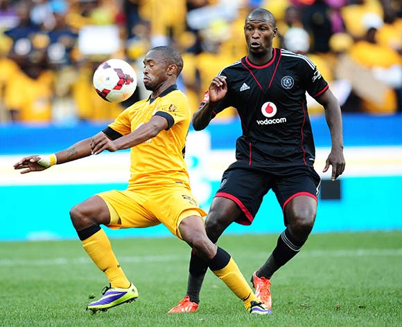 Bernard Parker of Kaizer Chiefs controls ball from Ayanda Gcaba of Orlando Pirates   during the 2013/14 Absa Premiership football match  between Kaizer Chiefs and Orlando Pirates at Soccer City, Johannesburg on the 26 October 2013