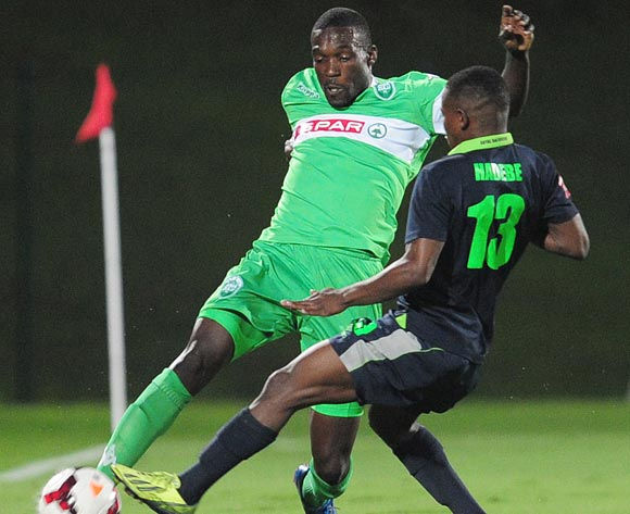Sibusiso Hadebe of Platinum Stars and Willem Mwedihanga of AmaZuluduring the PSL game on the 27 November 2013 at Princess Magogo Stadium