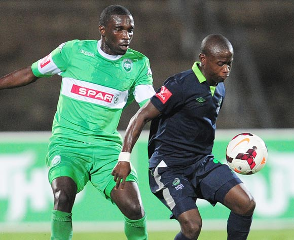 Willem Mwedihanga of AmaZulu and Lindokuhle Mbatha of Platinum Stars during the PSL game on the 27 November 2013 at Princess Magogo Stadium