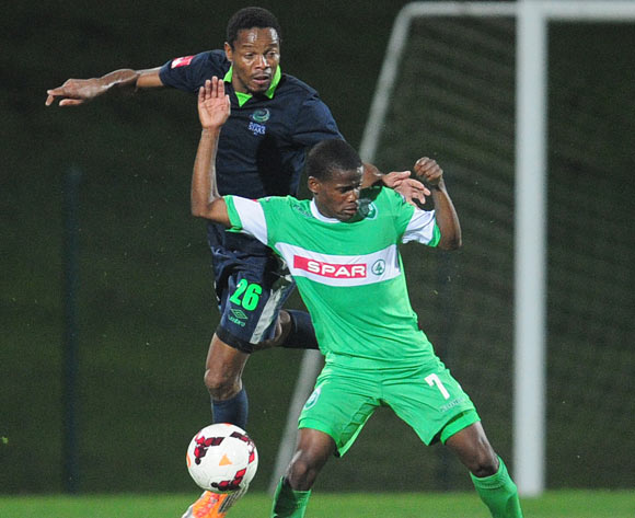 Thabiso Semenya  of Platinum Stars and Nkosinathi Nthiyane of AmaZulu during the PSL game on the 27 November 2013 at Princess Magogo Stadium