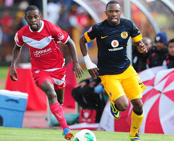 Bernard Parker of Kaizer Chiefs  and Katlego Mashego of Free State Stars during the Absa Premiership 2013/14 football match between Free State Stars and Kaizer Chiefs at the Charles Mopeli Stadium in Qwa-Qwa , Free State Province on the 30th of November 2