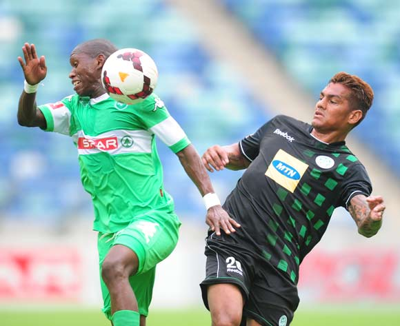 Njabulo Manqana of AmaZulu battles Clayton Daniels of Bloemfontein Celtic during the Absa Premiership 2013/14 match between AmaZulu and Bloemfontein Celtics at the Moses Mabhida Stadium in Durban on the 10th November 2013  ©Sabelo Mngoma/BackpagePix