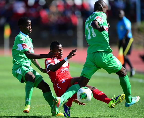 Nkosinathi Mthiyane and Ayanda Dlamini of Amazulu against Reuben Thebakang of Free State Stars during the Absa Premiership football match between Free State Stars and Amazulu at Goble Park in Bethlehem on November 24,  2013©Barry Aldworth/BackpagePix