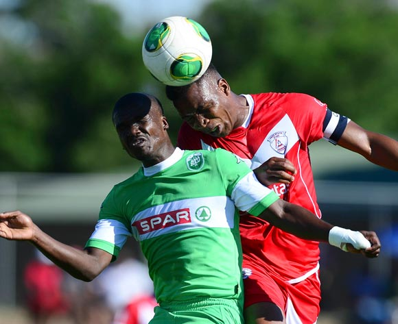 Goodman Dlamini of Amazulu and Paulos Masehe of Free State Stars during the Absa Premiership football match between Free State Stars and Amazulu at Goble Park in Bethlehem on November 24,  2013©Barry Aldworth/BackpagePix