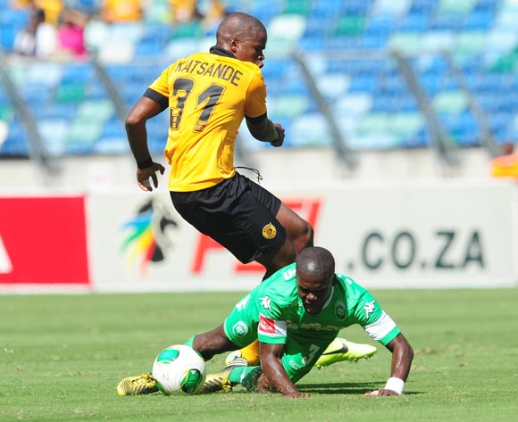 Willard Katsande of Kaizer Chiefs battling Goodman Dlamini ofAmaZuluduring the Absa Premiership 2013/14 football match between AmaZulu and Kaizer Chiefs at the Moses Mabhida Stadium in Durban, Kwa-Zulu Natal on the 22th of December 2013  ©Sabelo Mngoma/Ba
