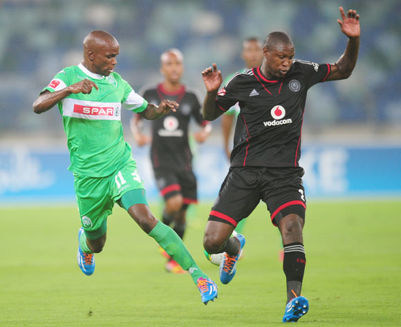 /Ayanda Dlamini of AmaZulu battles Ayanda Gcaba of Orlando Pirates during the Absa Premiership 2013/14 football match between AmaZulu and Orlando Pirates at the Moses Mabhida Stadium in Durban, Kwa-Zulu Natal on the 23rd of January 2014