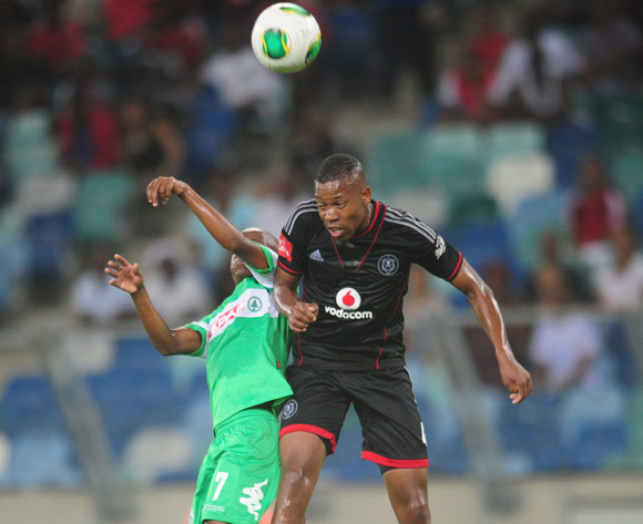 Happy Jele of Orlando Pirates  and Nkhosinathi Mthiyane of AmaZulu during the Absa Premiership 2013/14 football match between AmaZulu and Orlando Pirates at the Moses Mabhida Stadium in Durban, Kwa-Zulu Natal on the 23rd of January 2014