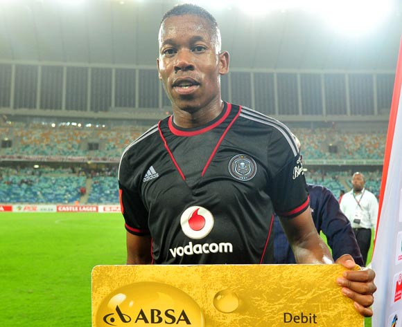 Happy Jele of Orlando Pirates awarded man of the match during the Absa Premiership 2013/14 football match between AmaZulu and Orlando Pirates at the Moses Mabhida Stadium in Durban, Kwa-Zulu Natal on the 23rd of January 2014