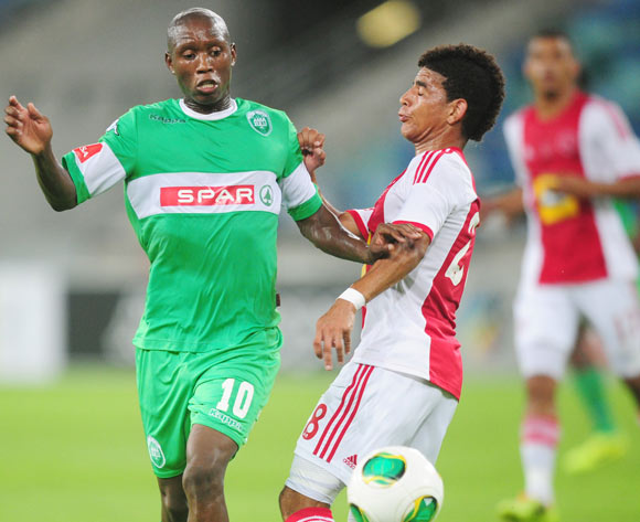 Njabulo Manqana of AmaZulu and Keagan Dolly of Ajax Cape Town during the Absa Premiership 2013/14 football match between AmaZulu and Ajax Cape Town at the Moses Mabhida Stadium in Durban, Kwa-Zulu Natal on the 4th of February 2014