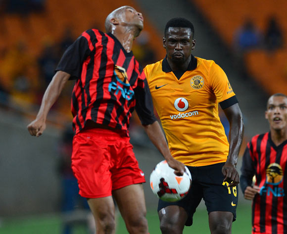 Klaas Blom of Black Africa battles for the ball with Kingston Nkatha of Kaizer Chiefs during the 2014 CAF Champions League Football Match between Kaizer Chiefs and Black Africa at FNB Stadium on 8 February 2014