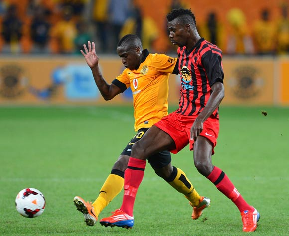 George Maluleka of Kaizer Chiefs battles for the ball with Roger Katjateo of Black Africa during the 2014 CAF Champions League Football Match between Kaizer Chiefs and Black Africa at FNB Stadium on 8 February 2014