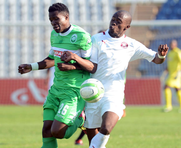 Tshepo Liphoko of AmaZulu battles with Asavela Mbekile of Moroka Swallows  during the Absa Premiership match between Moroka Swallows and AmaZulu on the 08 February 2014 at Dobsonville Stadium