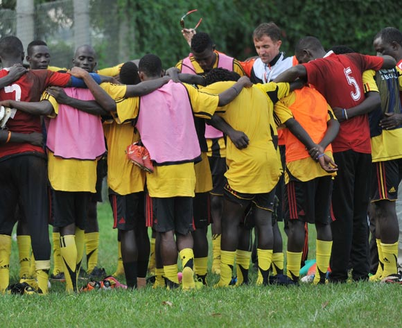 The Uganda Cranes players pray during training on 02 November 2013 at Lugogo Stadium, Kampala in preparation for the 2014 Cecafa and Chan Qualifiers. ©Ismail Kezaala/BackpagePix