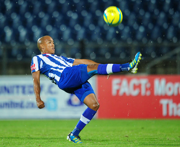 Kurt Lentjies of Maritzburg United during the Absa Premiership 2013/14 football match between Maritzburg United v Moroka Swallows at the Harry Gwala Stadium in Pietermaritzburg , Kwa-Zulu Natal on the 28th of February 2014