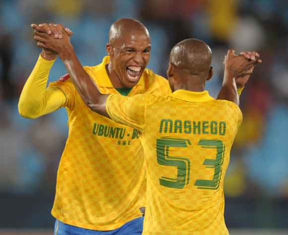 Thabo Nthethe celebrates his goal with Katlego Mashego of Mamelodi Sundowns during the Absa Premiership 2013/14 match between Mamelodi Sundowns and Ajax Cape Town at Loftus Stadium in Pretoria on the 15 February 2014 ©Muzi Ntombela/BackpagePix