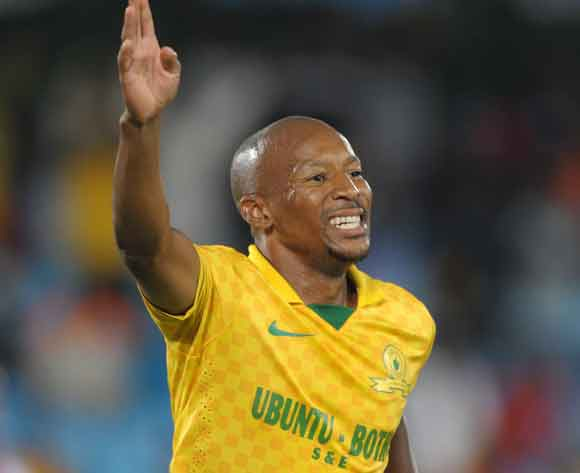 Katlego Mashego formely of Mamelodi Sundowns celebrates his goal during the Absa Premiership 2013/14 match between Mamelodi Sundowns and Ajax Cape Town at Loftus Stadium in Pretoria on the 15 February 2014 ©Muzi Ntombela/BackpagePix