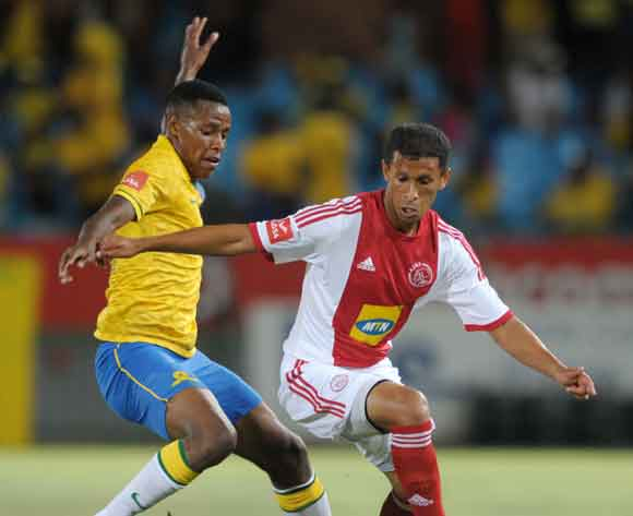 Nazeer Allie of Ajax Cape Town challenged by Bongani Zungu of Mamelodi Sundowns during the Absa Premiership 2013/14 match between Mamelodi Sundowns and Ajax Cape Town at Loftus Stadium in Pretoria on the 15 February 2014 ©Muzi Ntombela/BackpagePix