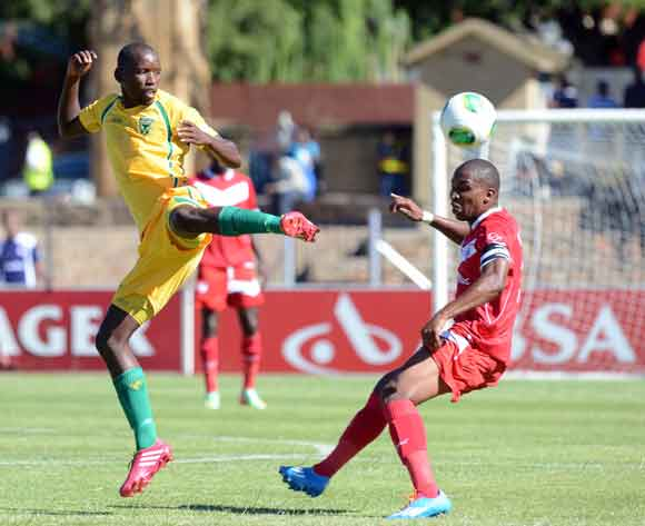 Paulus Masehe of Free State Stars battles with Thanduyise Khuboni of Golden Arrows during the Absa Premiership match between Free State Stars and Golden Arrows at Goble Park on the 15 February 2014 ©Sydney Mahlangu/BackpagePix