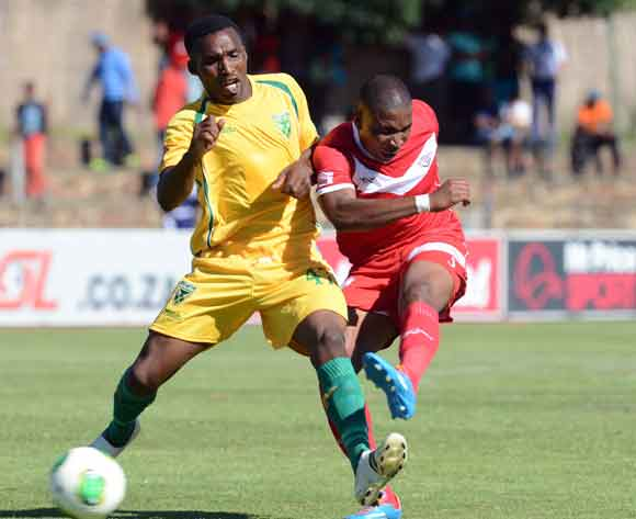 Paulus Masehe of Free State Stars battles with Vuyisile Ntombaythethi of Golden Arrows during the Absa Premiership match between Free State Stars and Golden Arrows at Goble Park on the 15 February 2014 ©Sydney Mahlangu/BackpagePix