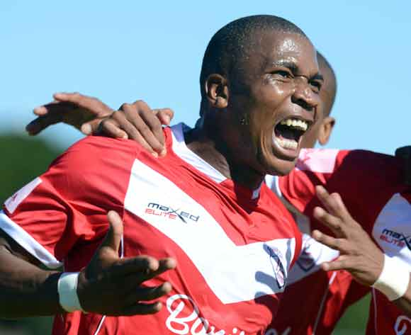 Paulus Masehe of Free State Stars celebrates his team firs goal during the Absa Premiership match between Free State Stars and Golden Arrows at Goble Park on the 15 February 2014 ©Sydney Mahlangu/BackpagePix