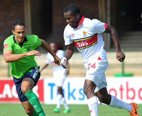 Ronald Ketjijere of University of Pretoria challenged by Henrico Botes of Platinum Stars during the Absa Premiership football match between University of Pretoria and Platinum Stars at the Tuks Stadium, Pretoria on the 16 February 2014 ©Samuel Shivambu/Ba