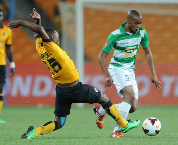 Wandisile Letlabika of Bloemfontein Celtic tackled by Bernard Parker of Kaizer Chiefs  during the Absa Premiership 2013/14 match between Kaizer Chiefs and Bloemfontein Celtic at FNB Stadium in Johannesburg on the 19 February 2014