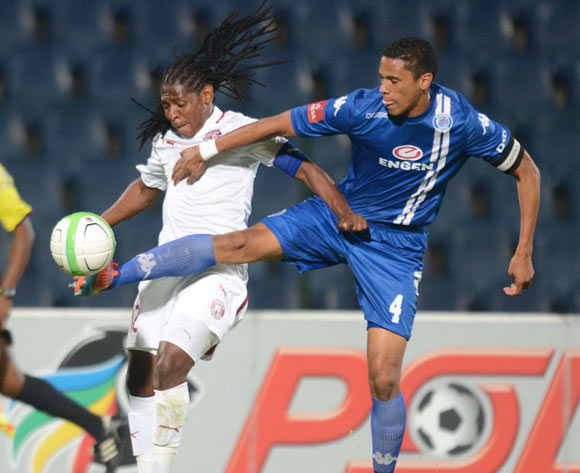 Lefa Tsutsulupa of Moroka Swallows battles with Bevan Fransman of Supersport United during an Absa Premiership match between Moroka Swallows and Supersport United on the 19 February 2014 at Dobsonville Stadium
