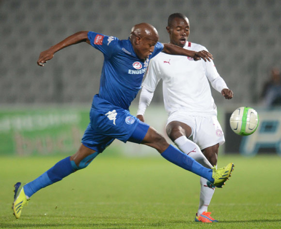 Asavela Mbekile of Moroka Swallows battles withLebogang Manyama of Supersport United during an Absa Premiership match between Moroka Swallows and Supersport United on the 19 February 2014 at Dobsonville Stadium
