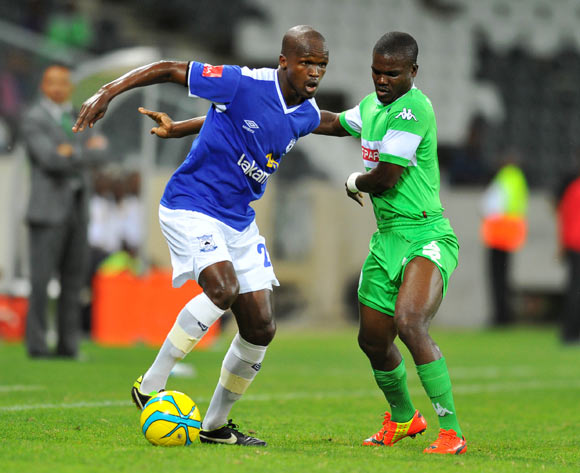 Zumuxolo Ngalo of Black Aces challenged by Goodman Dlamini of Amazulu during the Absa Premiership football match between Black Aces and AmaZulu at the Mbombela Stadium, Nelspruit on the 19 February 2014