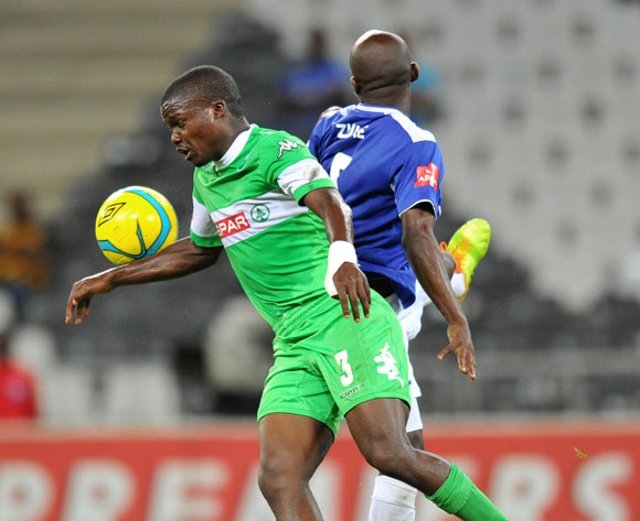 Goodman Dlamini of Amazulu challenged by Sandile Zuke of Black Aces during the Absa Premiership football match between Black Aces and AmaZulu at the Mbombela Stadium, Nelspruit on the 19 February 2014