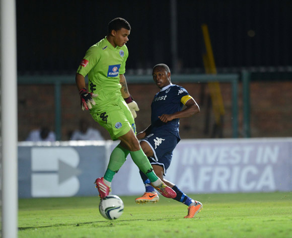 Sibusiso Vilakazi of Bidvest Wits scores past Ronwen Williams of Supersport United  during the Absa Premiership match between Bidvest Wits and Supersport United on the 25 February 2014 at Bidvest Stadium