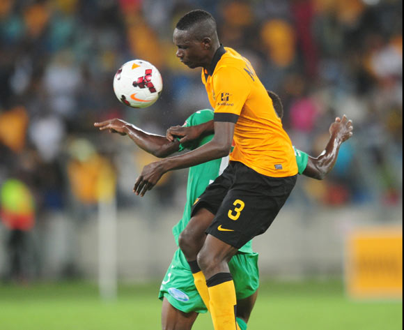 Erick Mathoho of Kaizer Chiefs battles Belito of Liga Macumalama during the CAF Orange Champions League 2014/15 football match between Kaizer Chiefs v Liga Muculmana at the Moses Mabhida Stadium in Durban , Kwa-Zulu Natal on the 1st of March 2014
