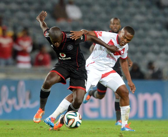 Angelo Kerspuy of Free State Stars battles withSifiso Myeni of Orlando Pirates during the Absa Premiership match between Orlando Pirates and Free State Stars  on the 01 March 2014 at Orlando Stadium