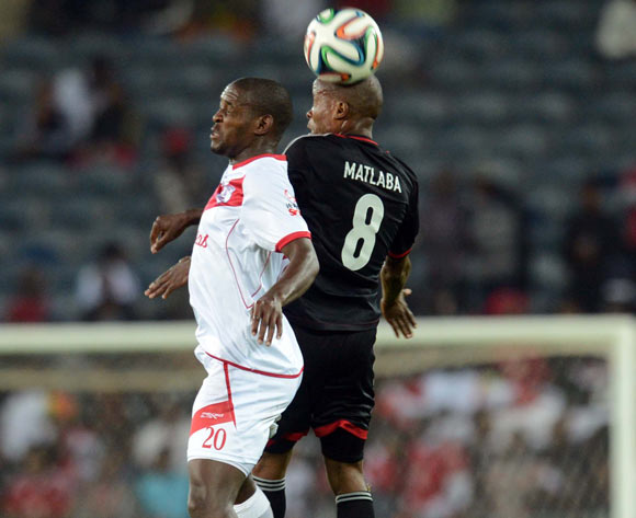 Katlego Mashego of Free State Stars battles with Thabo Matlaba of Orlando Pirates during the Absa Premiership match between Orlando Pirates and Free State Stars  on the 01 March 2014 at Orlando Stadium