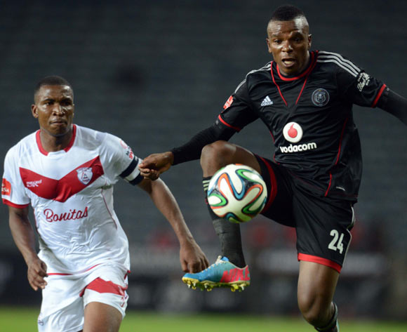 Paulus Masehe of Free State Stars battles with Khethokwakhe Masuku of Orlando Pirates during the Absa Premiership match between Orlando Pirates and Free State Stars  on the 01 March 2014 at Orlando Stadium